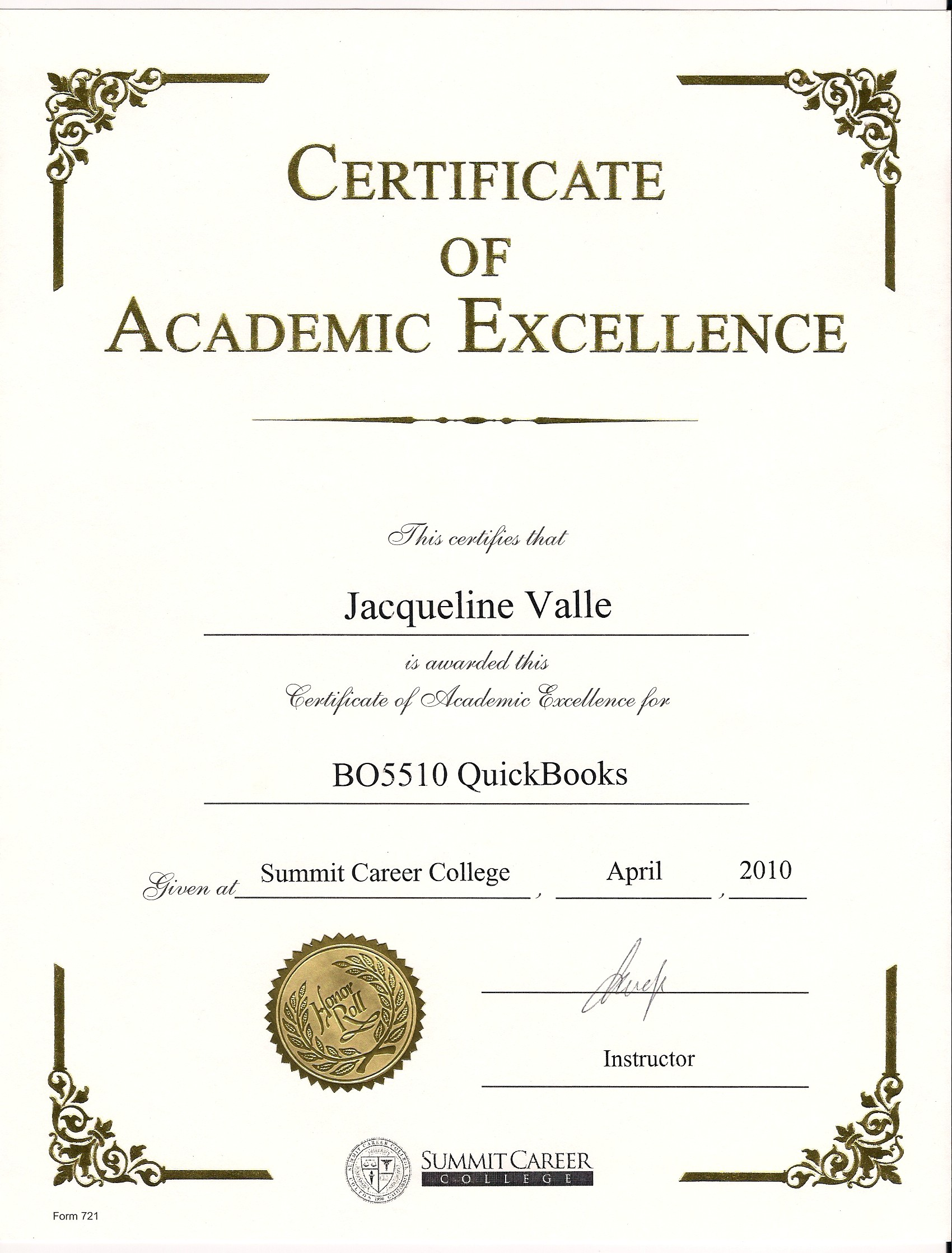 Awards And Certificates Jacqueline Valle Professional